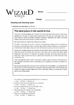 Interactive worksheet English file elementary reading and listening test