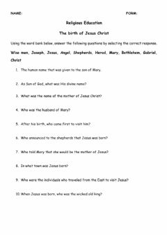 Interactive worksheet Birth of Jesus Christ