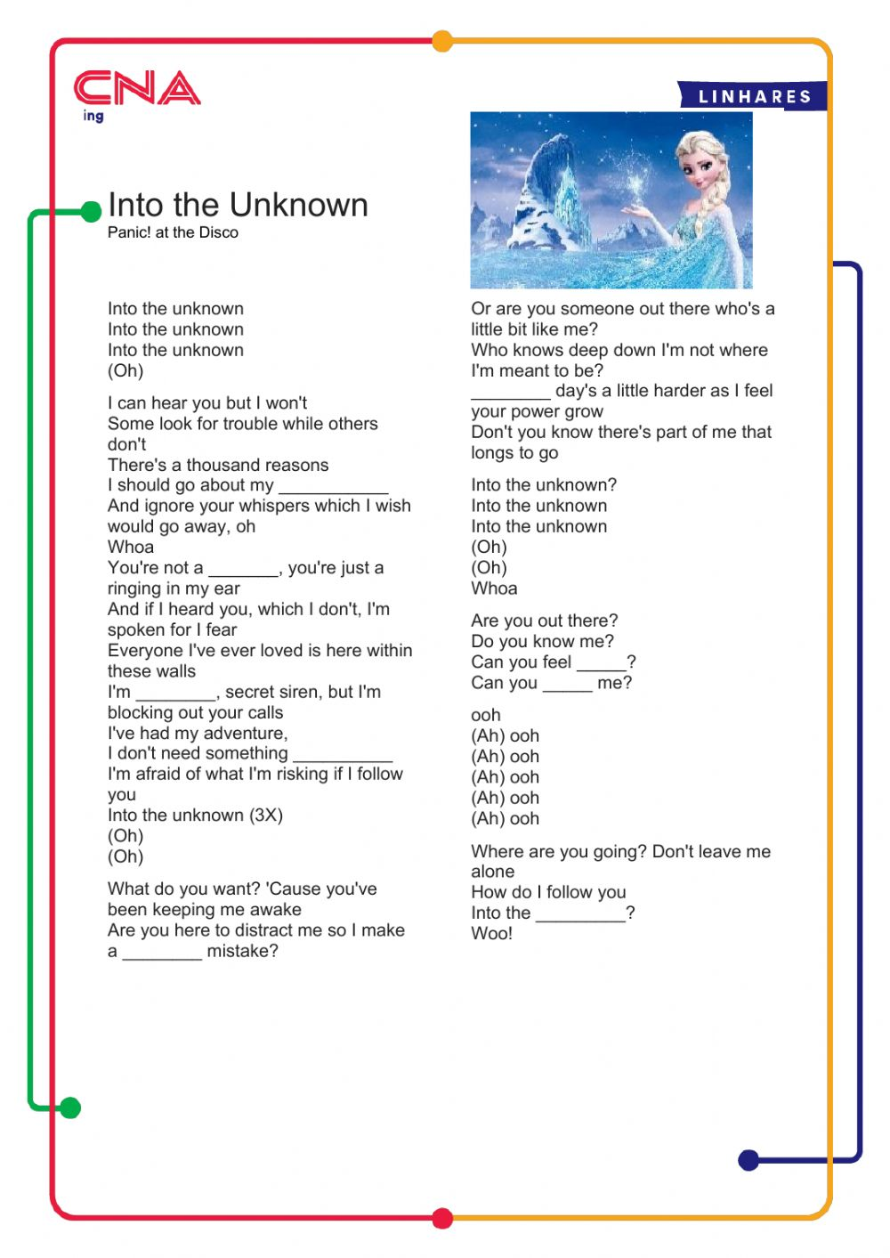 Frozen 2 - Into the unknown - Interactive worksheet