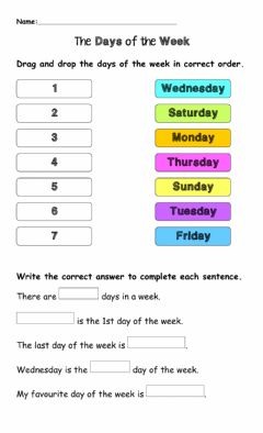 Ficha interactiva The Days of the Week