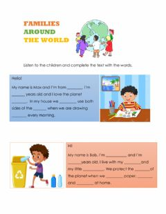 Interactive worksheet Families around the world