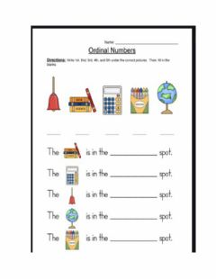 Interactive worksheet Ordinal number