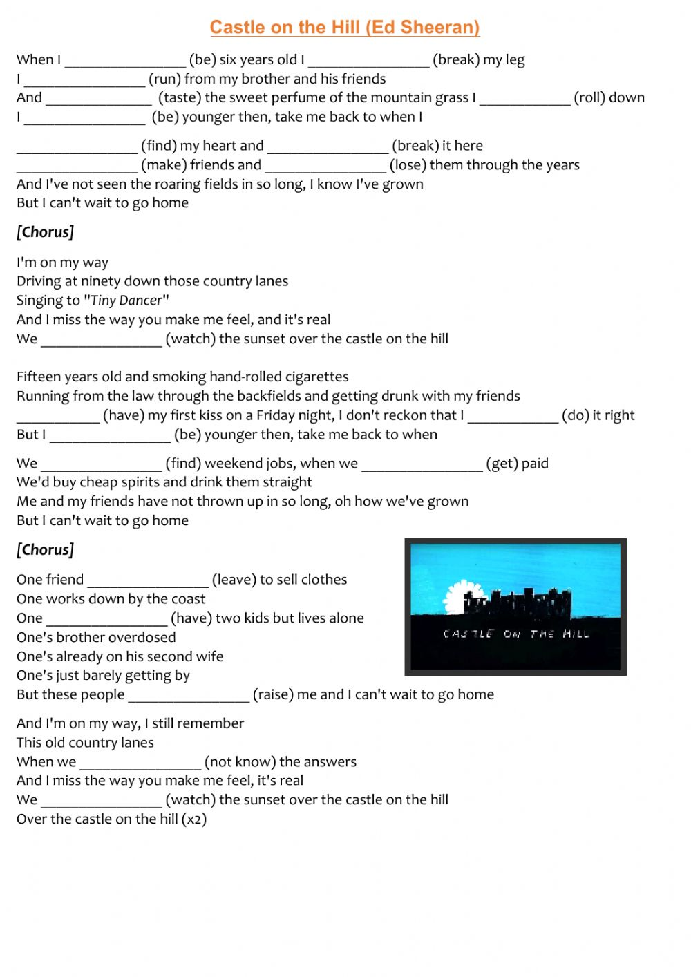 Castle On The Hill Song By Ed Sheeran Worksheet
