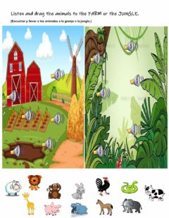 Interactive worksheet Farm and wild animals