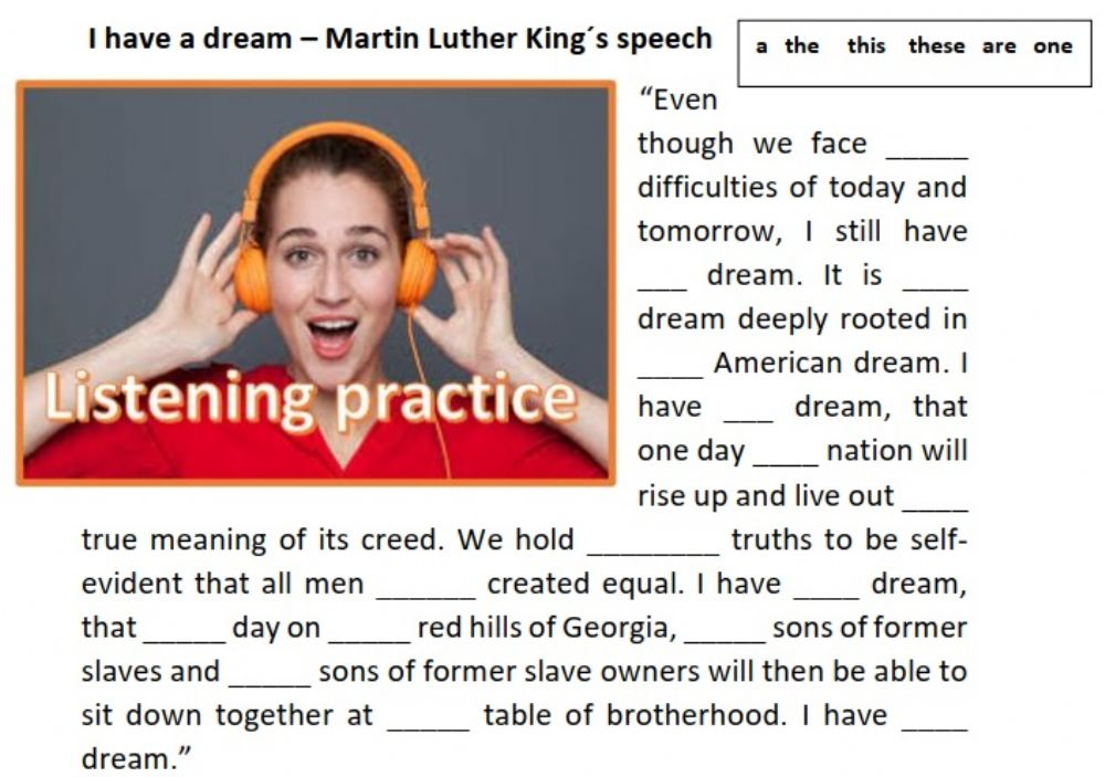 I Have A Dream - Martin Luther King-s Partial Speech Worksheet