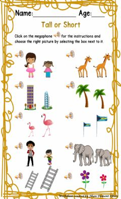 Interactive worksheet Tall or Short