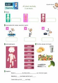 Interactive worksheet All about my body: I can move