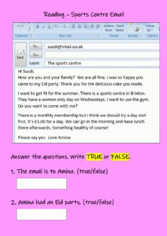 Interactive worksheet Reading - Sports Centre Email
