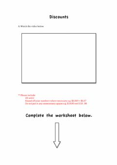 Interactive worksheet Calculating Sale Price given a Discount