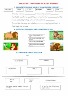 Interactive worksheet The Mouse and The Lion