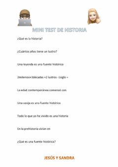 Interactive worksheet Test de historia