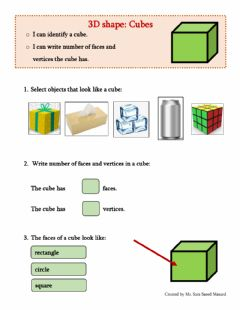 Interactive worksheet 3D Shapes: Cube