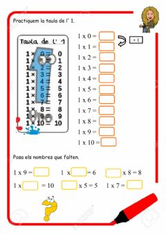 Interactive worksheet La taula de l'1