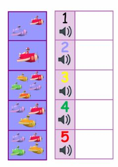 Interactive worksheet Five little airplanes