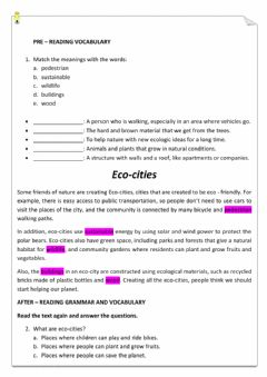 Interactive worksheet Eco - cities