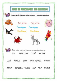 Interactive worksheet Com es desplacen els animals