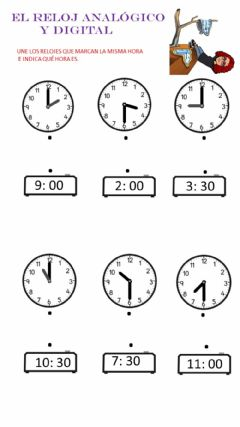 Interactive worksheet El reloj analógico y digital