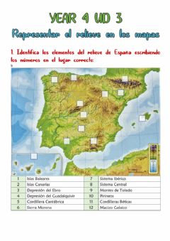 Interactive worksheet EL relieve en España