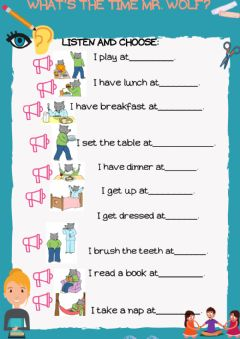 Interactive worksheet What-s the time mr. wolf?