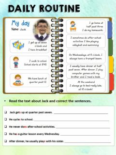 Interactive worksheet Jack's daily routine