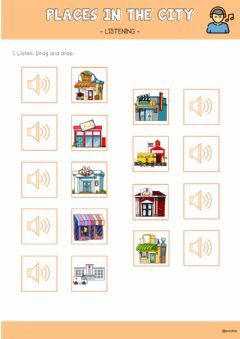 Interactive worksheet Places in the city - listening