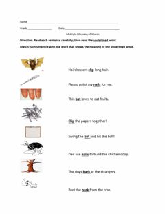 Interactive worksheet Multiple Meaning of words