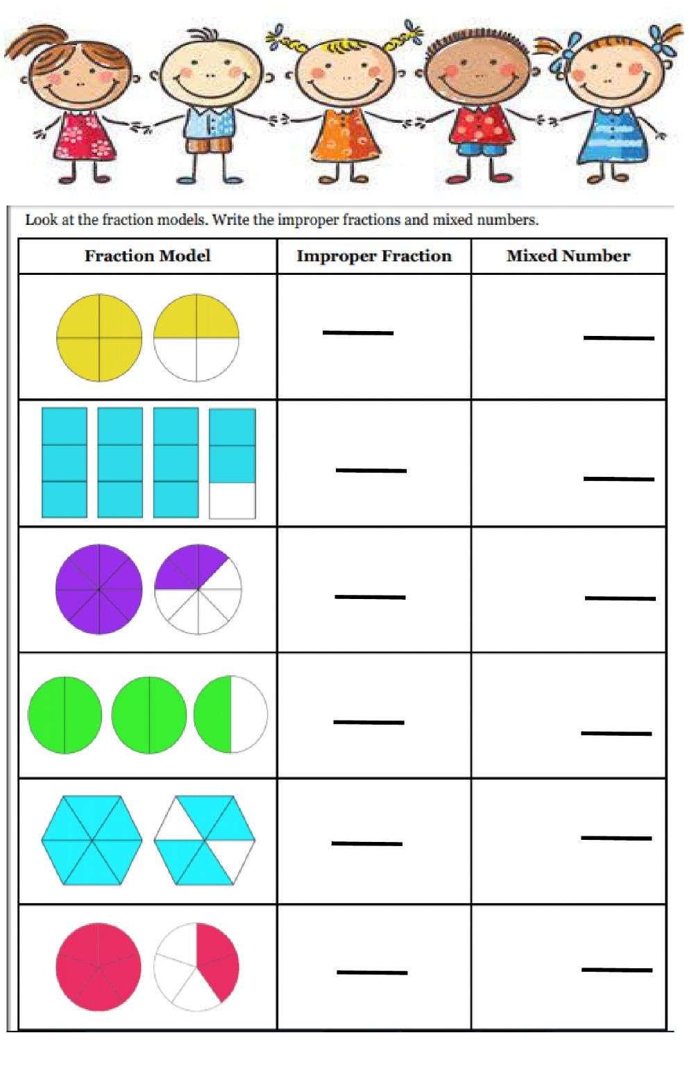 Fractions interactive exercise for Grade 3
