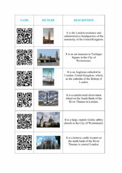 Ficha interactiva Famous places in London