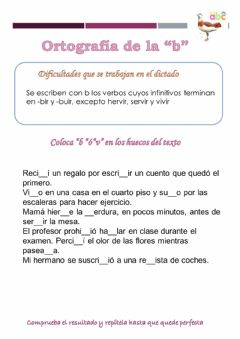 Interactive worksheet Dictado de la b y la v