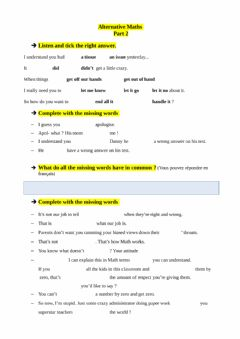 Interactive worksheet Alternative Math 2