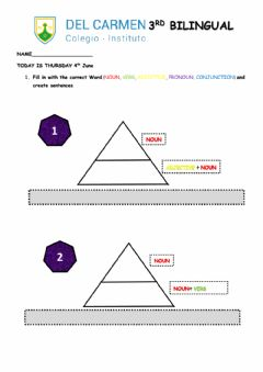 Interactive worksheet Pyramid Sentence Formation