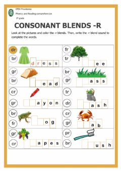 Interactive worksheet Consonant blends with -r