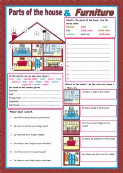 Interactive worksheet Parts of the house & Furniture
