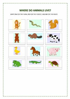 Interactive worksheet Where do animals live? 1