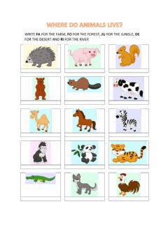 Interactive worksheet Where do animals live? 2