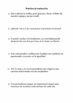Ficha interactiva Year 10 summer review work - page 1 - translation practice
