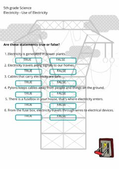 Interactive worksheet Use of Electricity