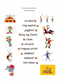 Interactive worksheet Circus Vocabulary for Kids