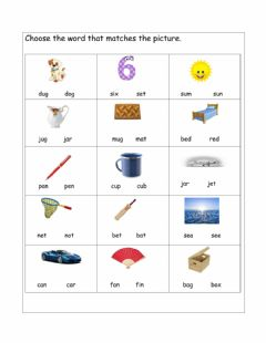 Interactive worksheet Matching correct CVC words to pictures