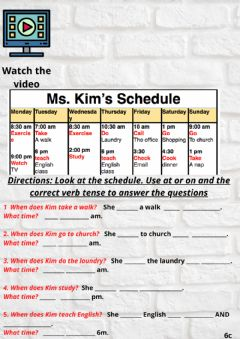 Interactive worksheet Reading a schedule