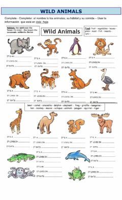 Interactive worksheet Complete about the wild animals