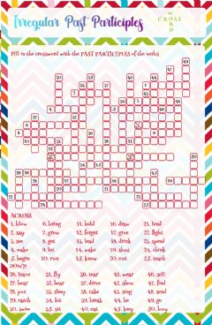 Ficha interactiva Irregular Past Participles crossword