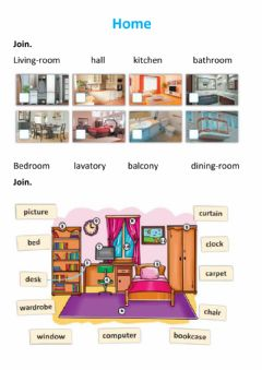Ficha interactiva Home house vocabulary