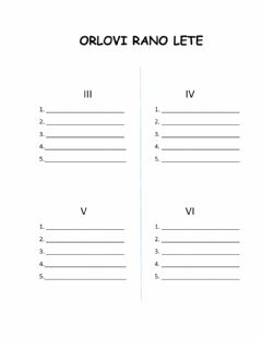 Interactive worksheet Orlovi rano lete