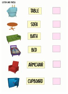 Interactive worksheet My house: items of furniture