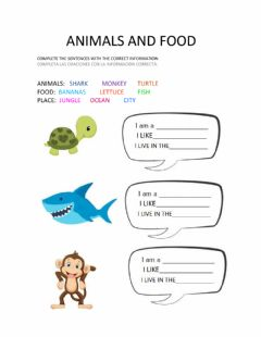Interactive worksheet Animals and food
