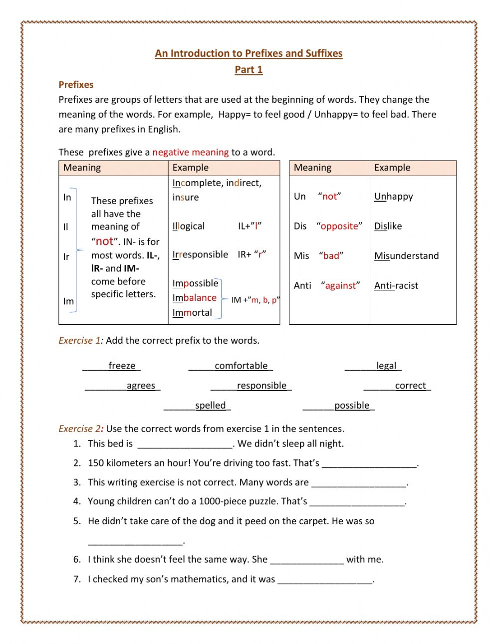 Introduction to Prefixes and Suffixes worksheet With Regard To Prefixes And Suffixes Worksheet