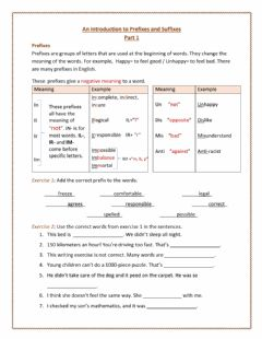 Interactive worksheet Intrduction to Prefixes and Suffixes