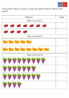 Interactive worksheet Skip Counting + Money