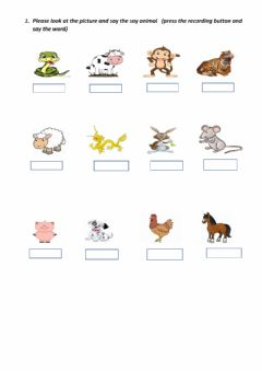 Interactive worksheet Zoo and farm animals
